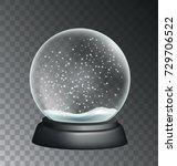 vector realistic snow globe... | Shutterstock .eps vector #729706522