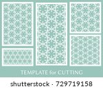 decorative panels set for laser ... | Shutterstock .eps vector #729719158