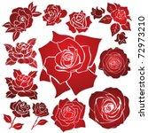 vector stencil roses | Shutterstock .eps vector #72973210