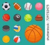 set of balls isolated... | Shutterstock .eps vector #729732475