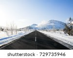 road near mount io in winter ... | Shutterstock . vector #729735946