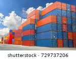 industrial container yard for... | Shutterstock . vector #729737206