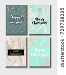 christmas card vector set with... | Shutterstock .eps vector #729738235