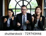 team business are feeling happy ... | Shutterstock . vector #729743446