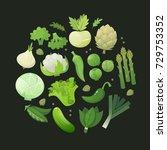 fresh green vegetables arranged ...   Shutterstock .eps vector #729753352