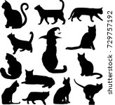 set of black cats silhouettes... | Shutterstock .eps vector #729757192