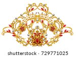 golden arabesque with rubies  | Shutterstock . vector #729771025