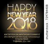 vector happy new year 2018... | Shutterstock .eps vector #729784408