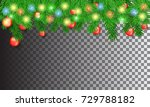 christmas tree branches with... | Shutterstock .eps vector #729788182