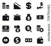 16 vector icon set   coin stack ...   Shutterstock .eps vector #729791482