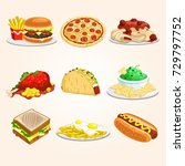 assorted fast food icons | Shutterstock .eps vector #729797752