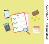 tax payment. vector... | Shutterstock .eps vector #729800992