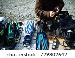 diver fixing equipment on the...   Shutterstock . vector #729802642