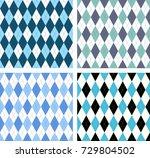 set of four seamless argyle... | Shutterstock .eps vector #729804502