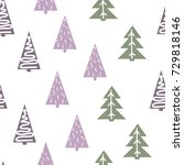 seamless christmas pattern with ... | Shutterstock .eps vector #729818146