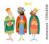 three biblical kings  caspar ... | Shutterstock .eps vector #729818338