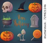 a set of happy halloween icons. ... | Shutterstock .eps vector #729821146