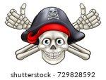 pirate skull and crossbones... | Shutterstock .eps vector #729828592