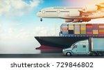 plane trucks are flying towards ... | Shutterstock . vector #729846802