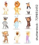 children kids animal costumes... | Shutterstock .eps vector #729851452