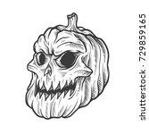 pumpkin halloween skull  | Shutterstock .eps vector #729859165