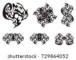 dragon head symbols in tribal... | Shutterstock .eps vector #729864052