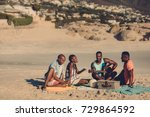 group of friends with guitar... | Shutterstock . vector #729864592
