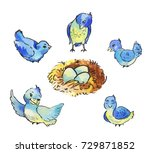 set of cute blue birds around... | Shutterstock . vector #729871852