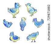 set of blue birds isolated on... | Shutterstock . vector #729871882