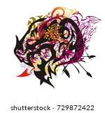 grunge colorful dragon head... | Shutterstock .eps vector #729872422