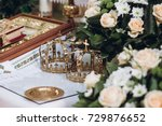 golden crowns and bible and... | Shutterstock . vector #729876652