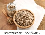 composition with hemp seeds on... | Shutterstock . vector #729896842