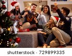 happy friends with sparkle... | Shutterstock . vector #729899335