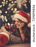 cute girl with boy for christmas | Shutterstock . vector #729899836