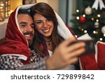 christmas couple together take... | Shutterstock . vector #729899842
