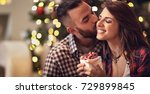 man with love kisses woman... | Shutterstock . vector #729899845