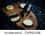 eggplant and lemon slices cut... | Shutterstock . vector #729901108