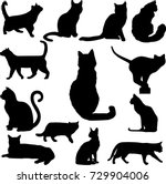 Stock vector set of black cats silhouettes isolated on white background vector illustration icons clip art 729904006