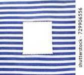 Small photo of clean patterned sheet on a background of alternating white and blue stripes/ background in marine style