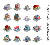 different kinds of buildings... | Shutterstock . vector #729908512
