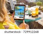 woman reading travel magazine... | Shutterstock . vector #729912268