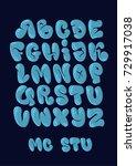 graffiti bubble style alphabet... | Shutterstock .eps vector #729917038