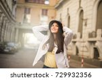 happy and smiling woman on the... | Shutterstock . vector #729932356
