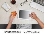 man holding a digital tablet... | Shutterstock . vector #729932812