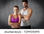 shot of a fit young woman and... | Shutterstock . vector #729935095