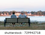 couple enjoying the sunset at... | Shutterstock . vector #729942718