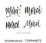 merci. french word meaning... | Shutterstock .eps vector #729944872