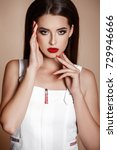 beauty woman with red lips and... | Shutterstock . vector #729946666