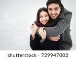 young beautiful enamored couple ... | Shutterstock . vector #729947002
