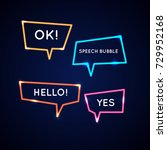 set neon speech bubbles and... | Shutterstock .eps vector #729952168